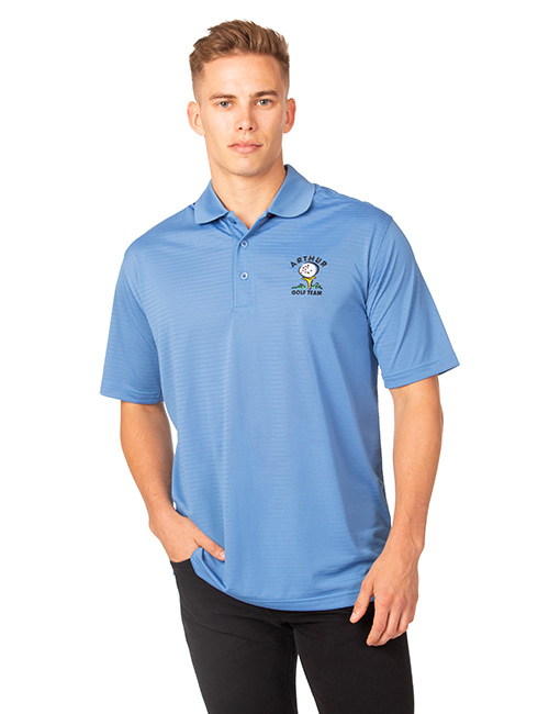 Syntrel Mens  Short Sleeve Jacquard Stripe Polo