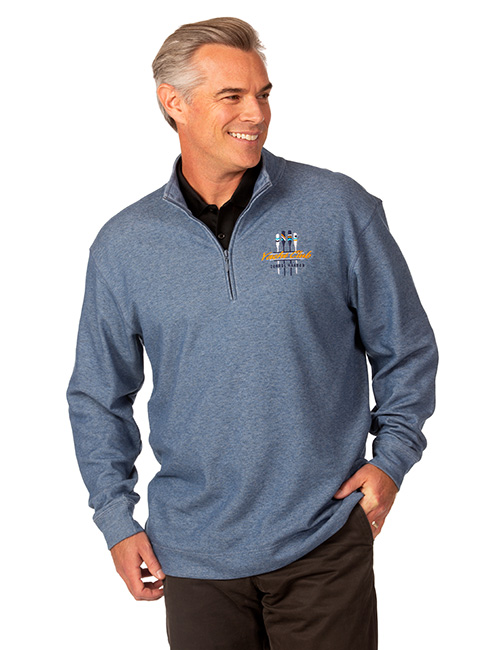 Tri-reg Mens 1/4 Zip Mid-layer Heather Fleece