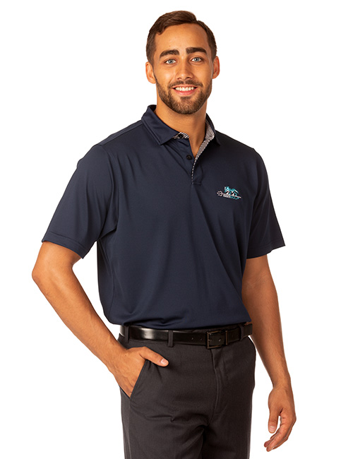 Syntrel Mens  Short Sleeve Stretch Polo With Stripe Accents